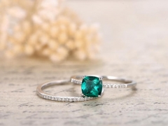 DUPUY 6mm cushion cut Emerald Engagement Ring Set
