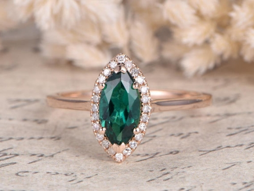 DUPUY  15x10mm Lab-treated Emerald Plain Band Engagement Ring