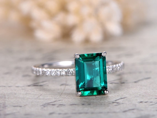 DUPUY 6x8mm Emerald Engagement Ring  Full Eternity Diamond Band