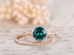 DUPUT Valentine's Present Emerald Engagement Ring Set
