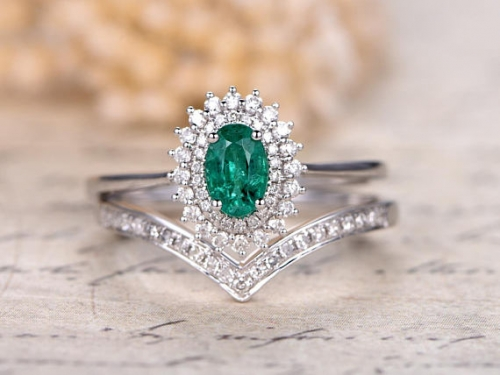 DUPUY 14K White Gold Natural Emerald Engagement Ring Set