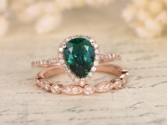 DUPUY 2 Rings Set 6x8mm Pear Cut  Emerald Wedding Ring Set