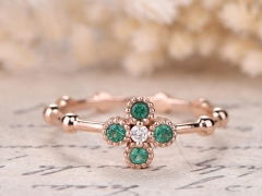 DUPUY Natural Emerald Floral Engagement Ring