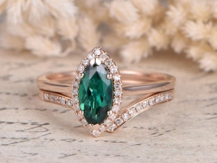 DUPUY 5x10mm Lab-treated Emerald Plain Band Curved V Diamond Wedding Ring set