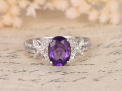 DUPUY 6*8mm oval cut Butterfly Amethyst  Diamond Engagement Ring