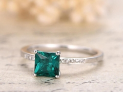 DUPUY 6mm Princess Cut Emerald Engagement Ring