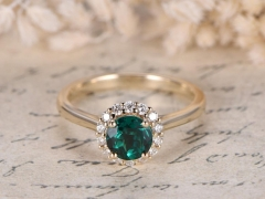 DUPUY 6mm round cut Lab Treated Emerald Engagement Wedding Ring