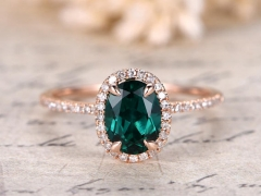 DUPUY 6x8mm Oval Cut Emerald  May Birthstone Ring