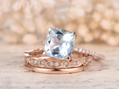 DUPUY 8mm Cushion Aquamarine Engagement Ring Set