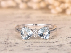 DUPUY Double Blue aquamarine Ring  White Gold