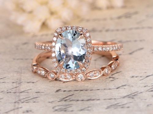 DUPUY Perfect 2 Rings Set 7x9mm Oval Cut Aquamarine Ring Set