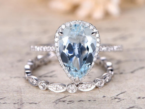 DUPUY 8x12mm Pear Cut Natural Aquamarine Ring Set