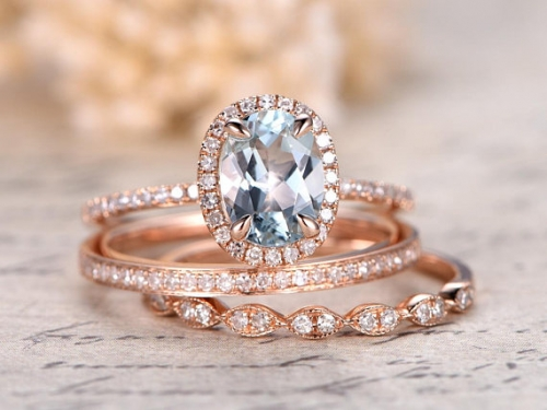 DUPUY  3pcs 6x8mm Oval Cut Aquamarine Ring Bridal Set