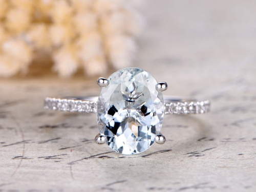 DUPUY White Gold 9x11mm Oval Cut Aquamarine Engagement Ring
