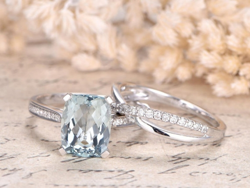 DUPUY 7x9mm Cushion Aquamarine Engagement Ring Set