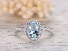 DUPUY Valentine's day gift 6x8mm Oval Cut Aquamarine Ring