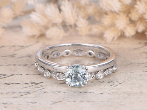 DUPUY 5mm Round Aquamarine Engagement Ring Set