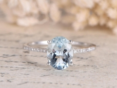 DUPUY VS 7*9 oval cut Aquamarine Engagement Ring