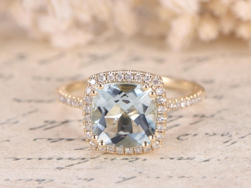 DUPUY VS Natural 8mm Aquamarine Engagement Ring March Birthstone