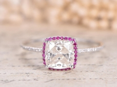 DUPUY 8mm Cushion Moissanite Engagement Ring Forever Classic