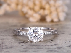 DUPU Forever Classic Charles & Colvard 6.5mm round Moissanite Engagement Ring