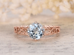 DUPUY 8mm Round Cut Aquamarine Engagement Ring Filigree Ring