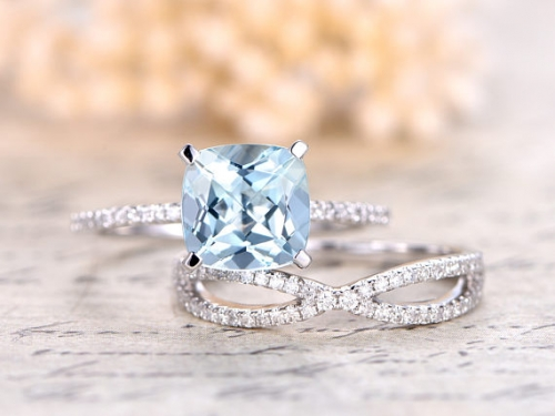 DUPUY 8mm Cushion Cut Aquamarine Ring Set Split Shank Band