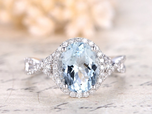 DUPUY 8*10mm oval Aquamarine Diamond Split Band Engagement ring