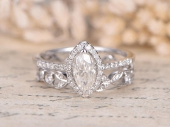 DUPUY Forever Classic 4x8mm Marquise Cut Moissanite Engagement Ring Set