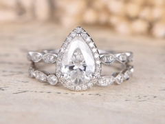 DUPUY Forever Classic 6x9mm pear cut Moissanite Engagement Ring Set
