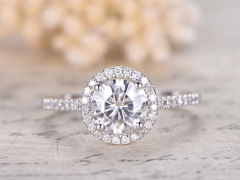 DUPUY  7mm Round Cut Moissanite Engagement Ring