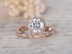 DUPUY 7mm Round Cut Moissanite Engagement Ring set