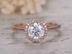 DUPUY 6.5mm Round Cut Charles & Colvard Moissanite Engagement Ring