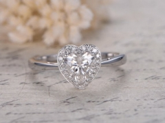 DUPUY Heart Shaped 6.5mm Round cut Moissanite Ring