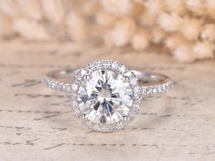 DUPUY   Solid 14K White Gold 8mm Round Moissanite Ring