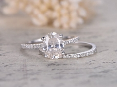 DUPUY 6x8mm Oval Shaped Cut Moissanite Ring Set