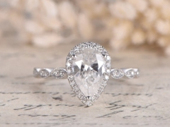 DUPUY Forever Classic Marquise Band 6x9mm Pear Cut   Moissanite Engagement Ring