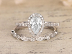 DUPUY 5x7mm Pear Cut Moissanite  Engagement Ring Set 2pcs