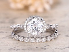 DUPUY 6.5mm Round  Moissanite Ring Set 2pcs Bridal Rings