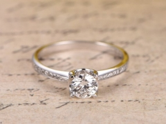 DUPUY 14K White Gold 5mm Moissanite Anniversary Ring