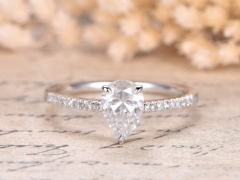 DUPUY 14K white Gold 5x7mm Pear Shape Moissanite Ring
