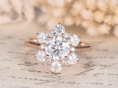 DUPUY  14K Rose Gold Floral Halo 6.5mm round Moissanite Ring