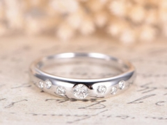 DUPUY 14K White Gold Deco Wedding Ring