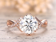 DUPUY 14K Rose Gold 8mm Cushion Moissanite Engagement Ring