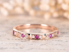 DUPUY Ruby Diamond Pave Wedding Band 14k Rose Gold