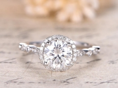 DUPUY 6.5mm Round Cut Moissanite Engagement Ring