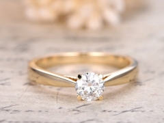 DUPUY 6.5mm round Moissanite Engagement Ring