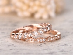 DUPUY 2pcs Diamonds Twist Rope Wedding Bands