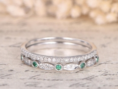 DUPUY 14K White Gold Emerald Ring 2pcs Eternity diamond Bands
