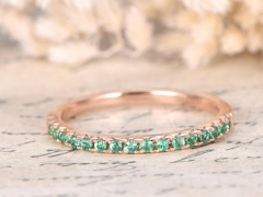 DUPUY Half Eternity Emerald  Thin Wedding Band